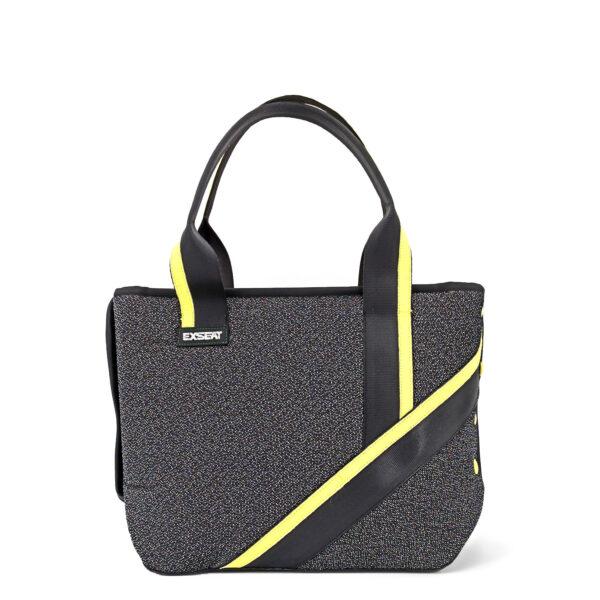 borsa shopping tracolla nero giallo